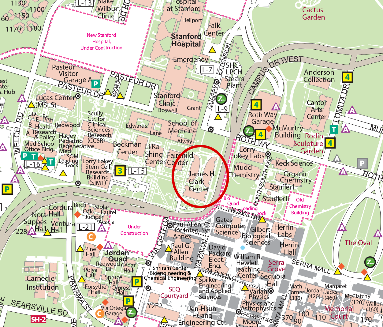 Map of the Clark Center.