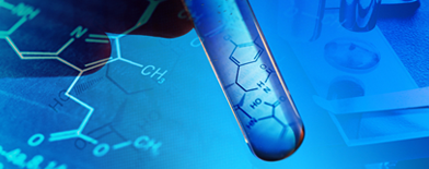 Photo of test tube with graphical chemistry background.