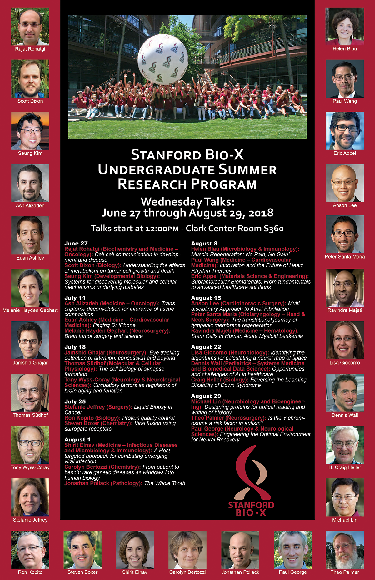Bio-X Undergraduate Summer Research Program Poster with the talk titles below, and showing photos of faculty speakers