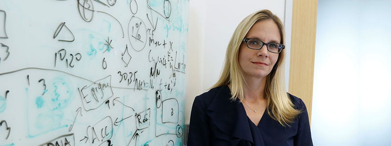Photo of faculty member Christina Curtis standing in front of a whiteboard covered in notes.