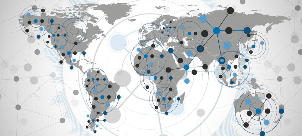 Graphic Of World Map With Data Points