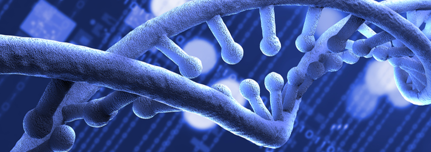 Graphic image of a double-helix of DNA against a background of numerical data.