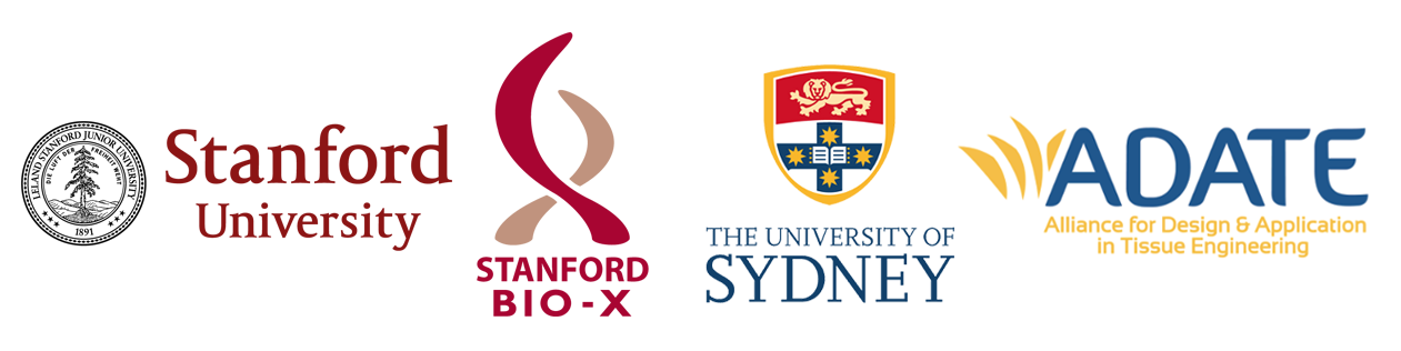 Stanford University seal, Stanford Bio-X logo, University of Sydney seal, and ADATE logo.
