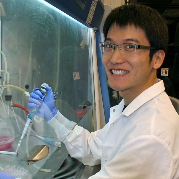 Photo of graduate student Shuo Han in the lab, using a pipette in the fume hood.