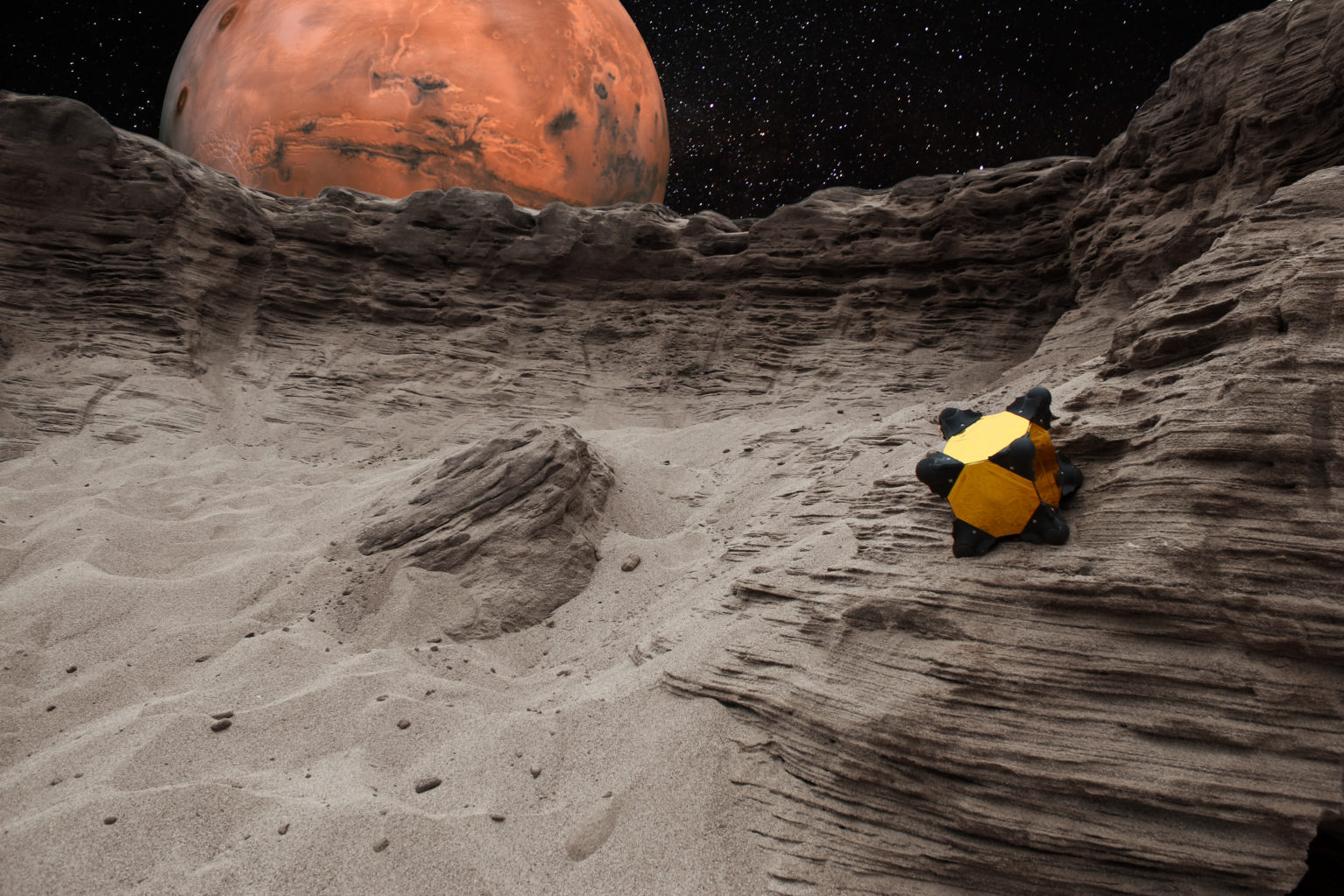 Graphic depiction of cubic Hedgehog robot, a small yellow cube with black rounded corners, on the moon with Mars in the background.