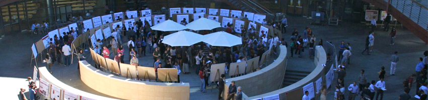 Image of a symposium poster session in the Clark Center Courtyard.