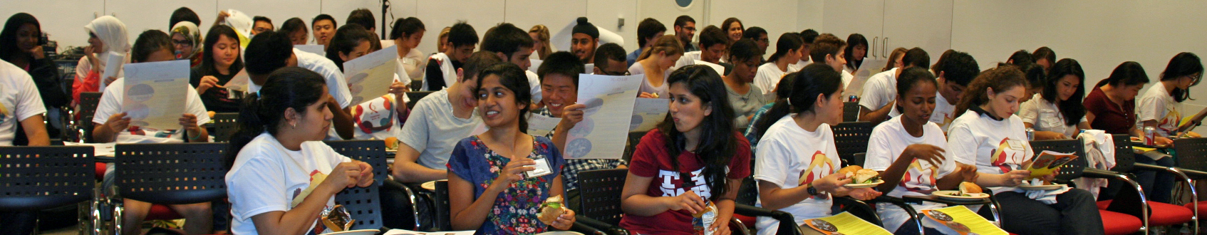 photo of 2013 Undergraduate Summer Research Program participants awaiting a faculty lecture