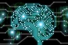 Graphic image of a brain shape made of interconnected lit up dots in a circuitboard-like design.