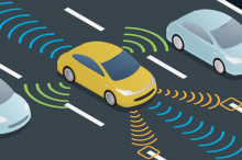 Graphic image of an autonomous car on the highway, scanning its surroundings in every direction.