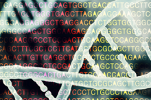 Graphic illustration of DNA strands in front of colored field of DNA amino acid letters.