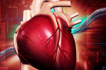 Graphic image of heart and scientific notations.