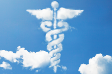 Graphic image of caduceus in clouds.
