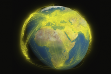 Graphic image depicting connections across the globe.