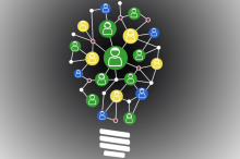 Graphic image of lightbulb composed of different icons of people to indicate crowdsourced idea.