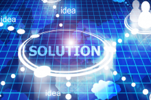 "Graphic image depicting the word ""solution"" lit up in the center, with glowing lines reaching out to isolated sub-groups of pictographs of people, with the word ""idea"" scattered along the connective lines."