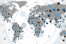 Graphic of world map with data points.