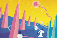 Illustration of miniature scientists in white coats chasing after a neuron and collecting data.