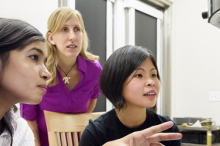 Photo of graduate student Fariah Hayee, Professor Jen Dionne and senior research scientist Ai Leen Koh in the lab.