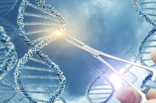 Graphic illustration of strands of DNA with scientist's hand reaching into remove a lit-up segment with forceps.