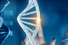 Graphic image of a man in a white coat touching a hovering image of a DNA double-helix, lighting up a base pair with his fingertip.
