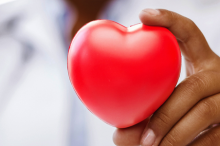 Photo of doctor holding up a toy heart.