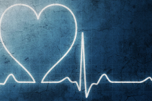 Graphic image of heart rate on a grungy blue background.