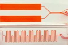 Photo depicting the device described in the article, showing two orange rectangles at the top, connected by orange wires and tubes to a microfluidic segment that looks like a tight wavy line.