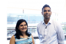 Photo of Drs. Nidhi Bhutani and Ovijit Chaudhuri standing together at the Clark Center.