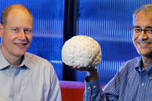 Photo of Dr. Jaime Henderson on left, and Dr. Krishna Shenoy on right, sitting in a Clark Center office. Dr. Shenoy holds up a white model of a human brain.