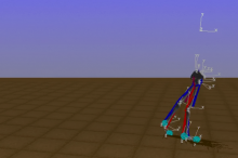 Graphic image of 3D skeleton model with muscles in blue and red, walking using AI.