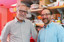 Photo of elder and middle-aged male professors standing in front of shelves with lab equipment and supplies.