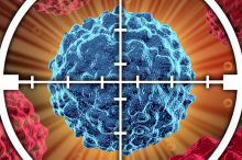 Graphic image of a cancer cell in target crosshairs.