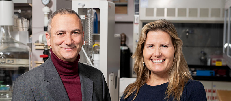 Photo of Drs. Antonio Hardan and Karen Parker standing in a laboratory space.